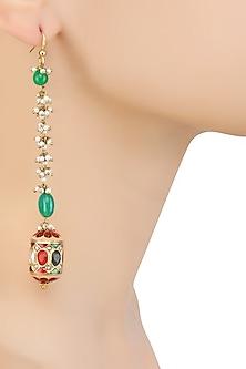 Gold Finish Navratan Stone Dholki Ball Long Earrings by Art Karat