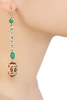 Gold Finish Navratan Stone Dholki Ball Long Earrings by Art Karat