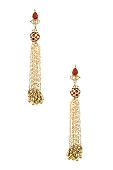 Gold Finish Maroon And Kundan Stones Pearls Chain Hanging Earrings by Art Karat