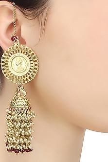 Gold finish coin head earrings by Art Karat