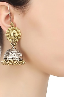 Gold finish tribal earrings by Art Karat