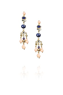 Gold Finish pink stone drop earrings by Art Karat