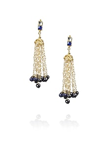 Gold finish pearl fringe earrings by Art Karat