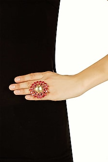 Gold plated ruby and kundan studded ring