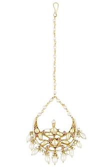 Gold Finish Kundan, Pink Glass Stone And Pearls Maang Tikka by Art Karat
