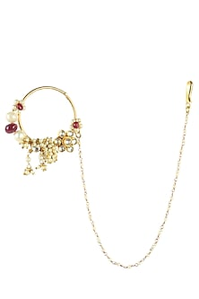 Gold Finish Kundan And Pearls Floral Nath/Nose Ring by Art Karat