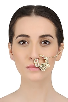 Gold Finish Kundan And Baby Pearls Nath/ Nose Ring