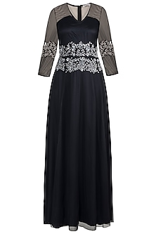 Black Embellished Gown by Attic Salt