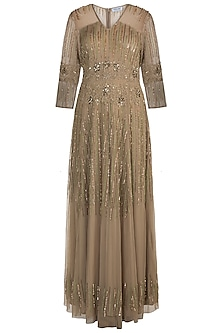 Olive Green Embellished Gown by Attic Salt