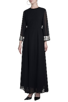 Black Sequins Embellished Gown by Attic Salt