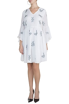 White Embroidered Drape Dress by Attic Salt