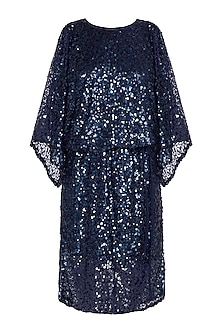 Navy Blue Sequins Embellished Dress by Attic Salt