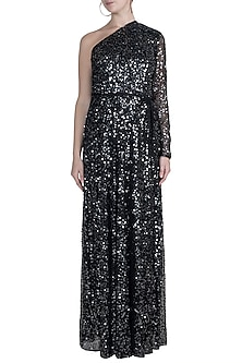 Black One Shoulder Sequins Gown by Attic Salt