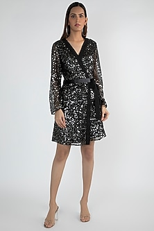 Black Embellished Wrap Dress by Attic Salt