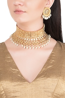 Gold Finish Faux Pearls Embossed Choker Necklace Set by Aster