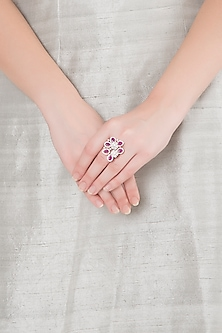 White Finish Faux Diamonds & Red Stones Ring by Aster