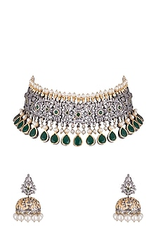 Black Rhodium Finish Faux Pearl, Diamond & Green Stone Choker Necklace Set by Aster