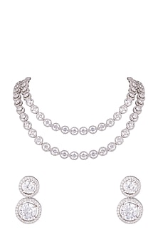 White Finish Faux Diamonds Double Line Necklace Set by Aster