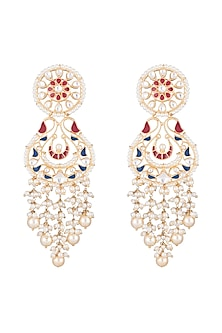 Gold Finish Enamled Faux Pearl & Kundan Earrings by Aster