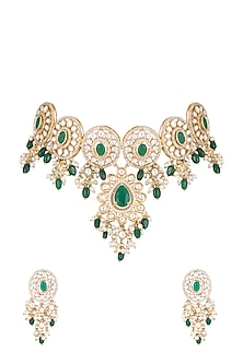 Gold Finish Faux Pearl, Diamond, Green Stone & Kundan Necklace by Aster