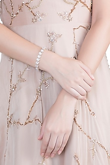 Rose Gold Flexible Faux Diamond Bracelet by Aster