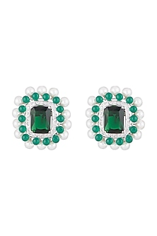 White Finish Faux Pearl, Diamond & Green Stone Stud Earrings by Aster