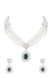 White Finish Faux Pearl, Diamond & Green Stone Necklace Set With Bracelet & Ring by Aster