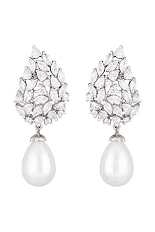White Finish Faux Diamond & Pearl Drop Earrings by Aster