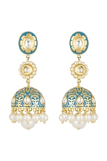 Gold Finish Enamled Faux Pearl & Kundan Jhumka Earrings by Aster