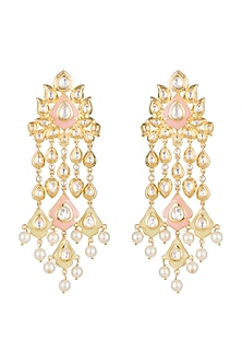 Gold Finish Enamled Faux Pearl & Kundan Earrings by Aster