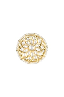Gold Finish Faux Pearl & Kundan Ring by Aster