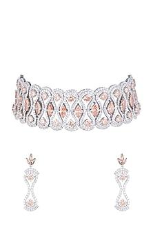 White Finish Faux Diamonds & Champagne Stones Choker Set by Aster