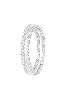 White Finish Faux Diamonds Openable Bangles by Aster
