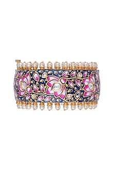 Gold Finish Meenakari Openable Bangle by Aster