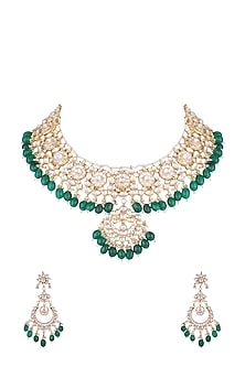 Gold Finish Kundan & Green Bead Necklace Set by Aster