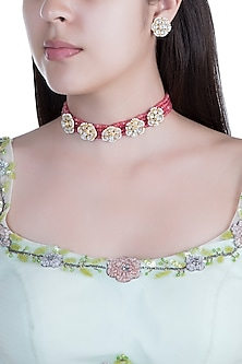 Gold Finish Faux Pearls, Kundan & Red Bead Choker Necklace Set by Aster