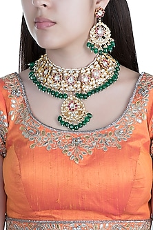 Gold Finish Faux Pearl, Kundan & Stone Necklace Set by Aster