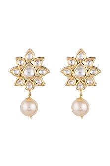 Gold Finish Faux Pearl & Kundan Earrings by Aster