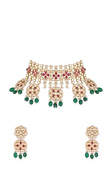 Gold Finish Faux Pearl, Kundan, Green Drop & Red Stone Necklace Set by Aster