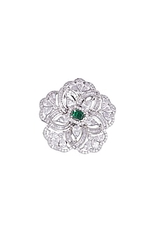 White Finish Faux Diamonds & Green Stone Ring by Aster