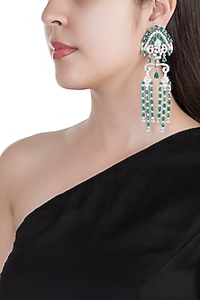 White Finish Faux Diamonds & Green Stones Dangler Earrings by Aster