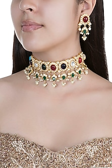 Gold Finish Multi Colored Stones, Faux Pearls & Kundan Necklace Set by Aster