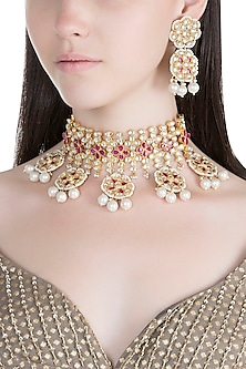 Gold Finish Kundan & Faux Pearl Necklace Set by Aster