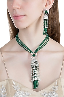 White Finish Faux Diamond & Green Beaded Mala Necklace Set by Aster