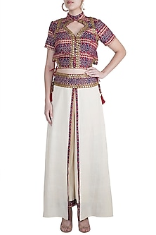Maroon Embellished & Printed Corset Top With Beige Skirt Pants by Ashna Vaswani