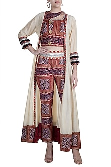 Maroon Embellished Printed Crop Top With Pants & Long Jacket by Ashna Vaswani