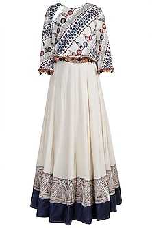 Beige & Blue Block Printed Embellished Top With Skirt by Ashna Vaswani