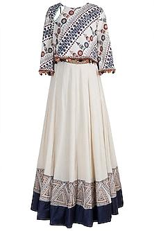 Beige & Blue Block Printed Embellished Top With Skirt by Ashna Vaswani
