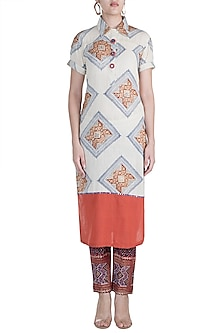 Rust & Beige Embellished Printed Tunic by Ashna Vaswani