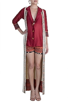 Maroon Shirt With Embellished Printed Shorts & Beige Long Shrug by Ashna Vaswani